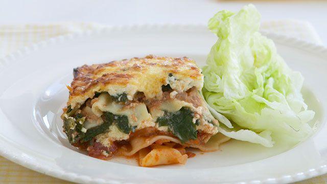 Spinach, ricotta and mushroom lasagne