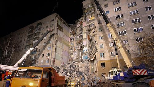 At least seven people have died after an apartment building's section collapsed from an apparent gas explosion in Russia's Ural Mountains region.