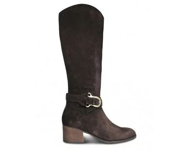 "<a href=""https://www.wittner.com.au/frann-boot-chocolate.html"" target=""_blank"">Wittner Shoes Frann Chocolate Suede Equestrian Block Heel Knee High Boot in Black Leather, $329.95</a>"