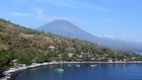 Mount Agung volcano is seen in Amed, Bali, Indonesia. (AP)