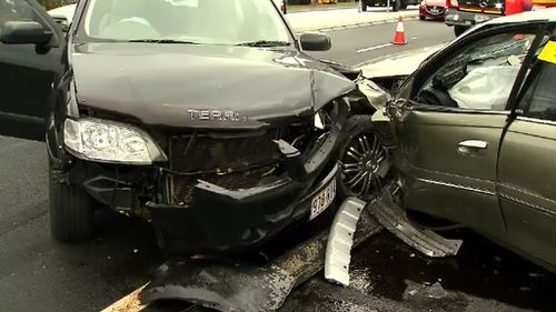 The cars were travelling along the Gold Coast Highway in Southport. (9NEWS)
