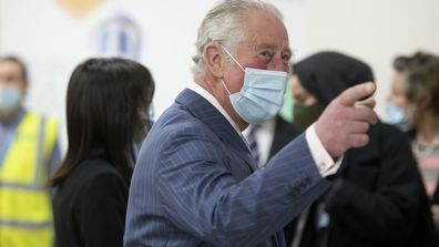 Prince Charles, Prince of Wales wears a face mask as he visits a vaccination pop-up centre at Finsbury Park Mosque on March 16, 2021 in London, England.