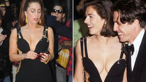 Lady Gaga dresses like Liz Hurley, silences weight critics