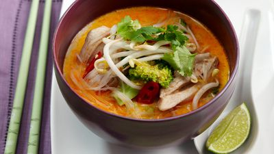 "Recipe: <a href=""http://kitchen.nine.com.au/2016/05/17/11/41/spicy-coconut-chicken-soup"" target=""_top"">Spicy coconut chicken soup</a>"