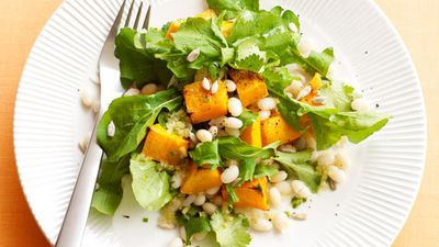 "<a href=""http://kitchen.nine.com.au/2016/05/16/14/51/pumpkin-and-white-bean-salad"" target=""_top"">Pumpkin and white bean salad</a>"