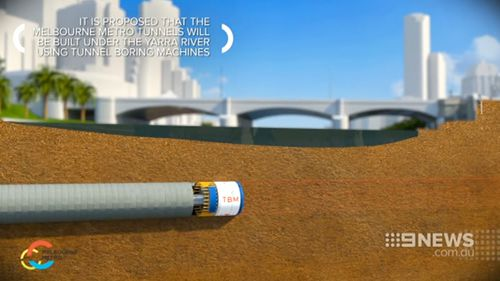 Two Tunnel Boring Machines will be buried underground to create the new rail tunnels. (9NEWS)