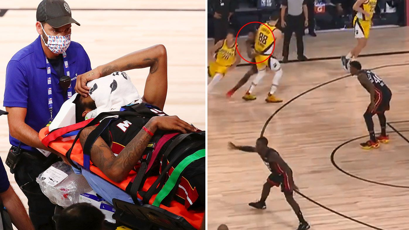 Miami Heat high-flyer Derrick Jones Jr stretchered off after frightening collision with Pacers rookie