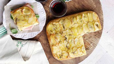 "Recipe: <a href=""http://kitchen.nine.com.au/2016/05/16/17/32/potato-and-rosemary-focaccia-with-mortadella"" target=""_top"">Potato and rosemary focaccia with mortadella</a>"