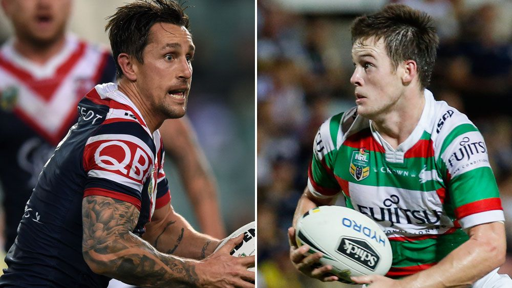 New halves pairing Mitchell Pearce (l) and Luke Keary are combining well for the Sydney Roosters. (AAP)