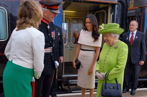 The Duchess of Sussex and the Queen travelled by overnight train to get to  Chester. Picture: PA