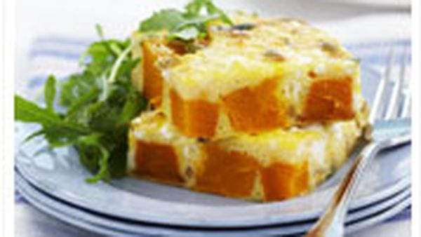 Roast pumpkin and feta frittata