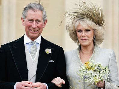 Prince Charles and Camilla, Duchess of Cornwall on their wedding day in 2005.
