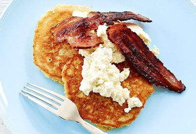 Big oat pancakes with bacon