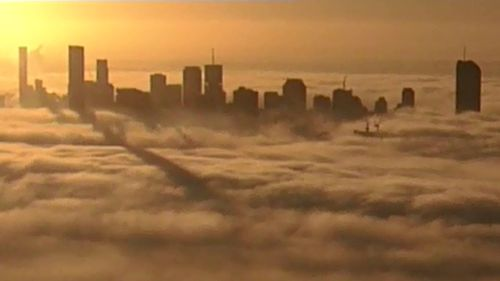 Thick fog has drifted over Brisbane. (9NEWS)