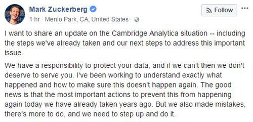 The social media site's founder went in depth about the changes Facebook was making in light of the data mining scandal. (Facebook)