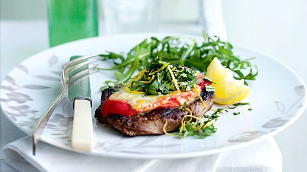 Lamb, bocconcini and gremolata stacks
