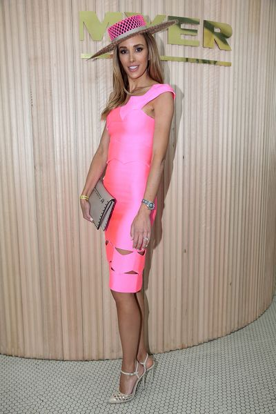 <p>Bec Judd in a dress from Lolitta and millinery from Danic Erard Millinery</p>