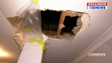An alleged home invader fell through a Perth family's roof before locking himself in a bedroom.