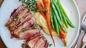 Pan-seared porterhouse steak with red wine sauce