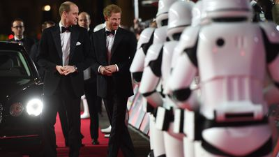 Prince Harry and William step out on the Star Wars red carpet