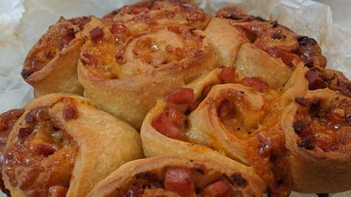 Slow cooker cheese and bacon scrolls