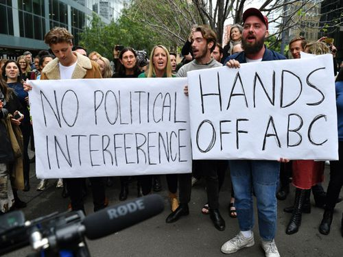 ABC staff in Sydney condemn political interference and demand its chairman stands down.