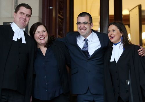 Faruk Orman (second right) with legal team Paul Smallwood, Ruth Parker and Carly Marcs Lloyd.