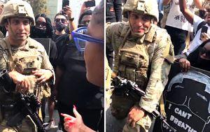 Armed US soldiers kneel with George Floyd protesters in Los Angeles