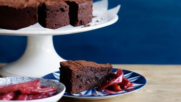 Crowd-pleasing chocolate cake with roast rhubarb