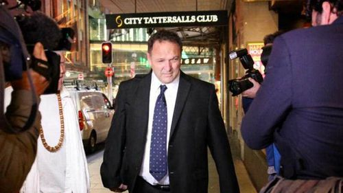 Ex Union Official and former boyfriend of Julia Gillard, Bruce Wilson leaving the AWU Royal Commission into Union corruption at an earlier appearance. (AAP)