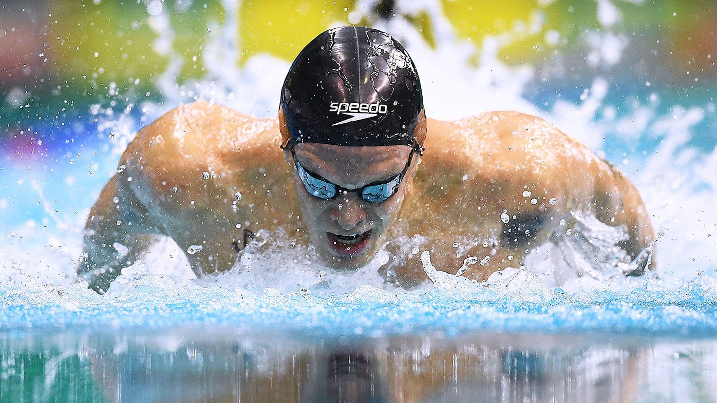 Cody Simpson competes in his Men's 100 metre Butterfly heat during the Australian National Olympic Swimming Trials in Adelaide.
