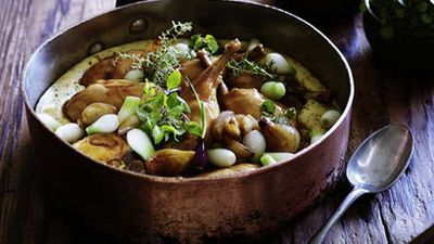 Slow-braised rabbit with roasted onions and buckwheat polenta