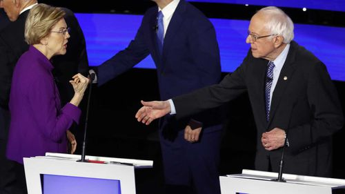 Elizabeth Warren rejects Bernie Sanders' handshake at the end of the debate.