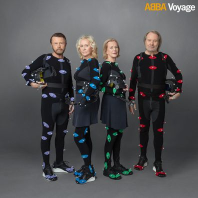 ABBA members in their motion capture gear for their virtual concert series