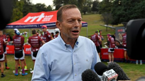 Former prime minister Tony Abbott is participating in the Pollie Pedal Bike Ride. (AAP)