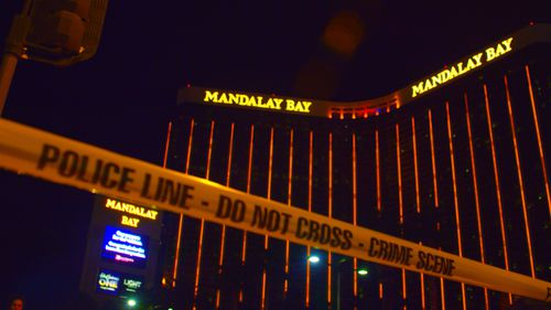 A photograph of the Mandalay Bay Hotel, owned by MGM Resorts, where Stephen Paddock conducted the deadliest mass shooting in US history.