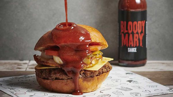 Chargrill Charlie's Bloody Mary hot sauce burger