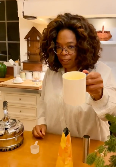 Oprah tries out super latte mix
