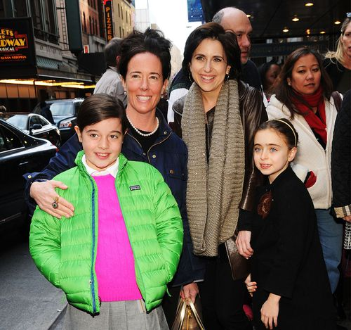 Spade pictured with her daughter Beatrix, left, and Darcy Miller with her daughter Daisy Nussabaum, right, in New York in 2013. Picture: Desiree Navarro/Getty Image