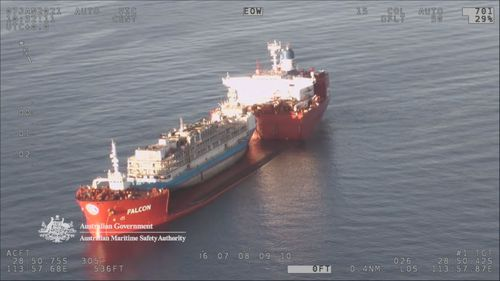 This livestock ship has been dragged out of Australian waters.