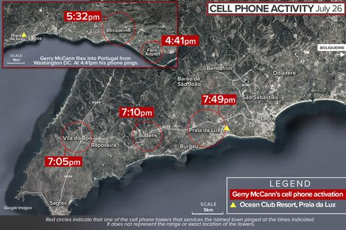 Map showing cell phone mast pings of Gerry McCann in Portugal, 2007.