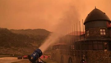 Fire and Rescue NSW Station 426 Perisher Valley photo of snowmaking machines being used to protect against fires