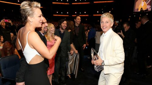 Ellen Degeneres with some of the cast from 'The Big Bang Theory'. (Getty)