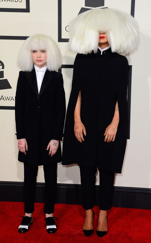 Australian singer Sia (right) and dancer Maddie Ziegler at the 57th annual Grammy Awards in 2015. (AAP)