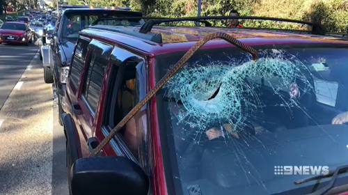 Mr Sant's front windscreen was pierced by a metal rod that fell off a passing truck.