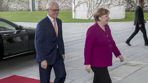 Prime Minister Malcolm Turnbull met with German Chancellor Angela Merkel today to discuss trade, the United States and China. Picture: AAP.