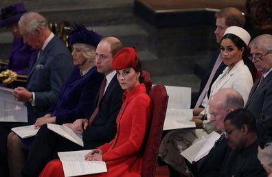 Meghan and Harry seated behind the Duke and Duchess of Cambridge at the service in 2019.