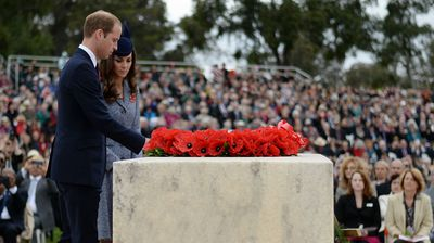 The Duke and Duchess of Cambridge lay a wreath as they attend the Commemorative Service. (AAP)