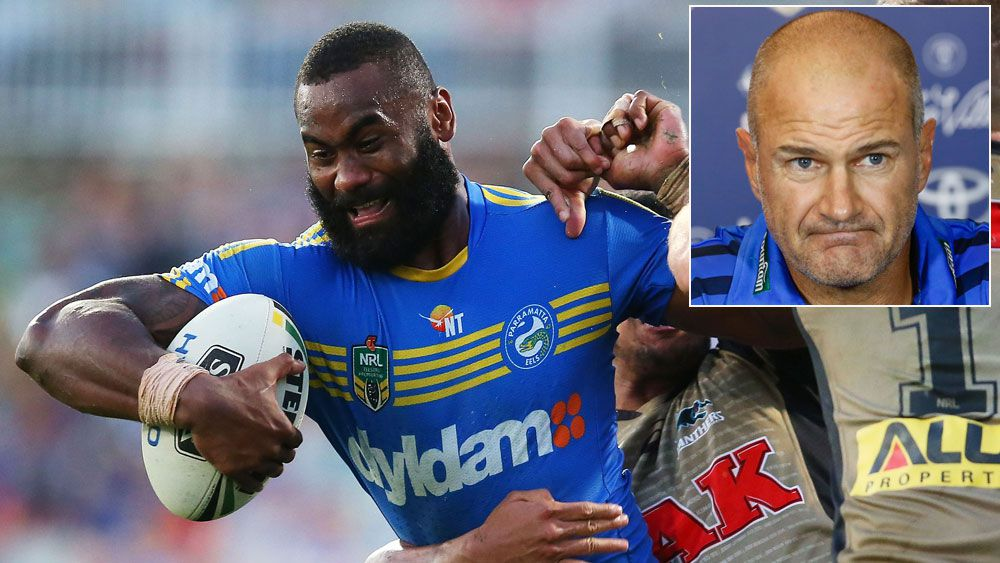 Semi Radradra in action and (inset) Brad Arthur. (Getty and AAP_