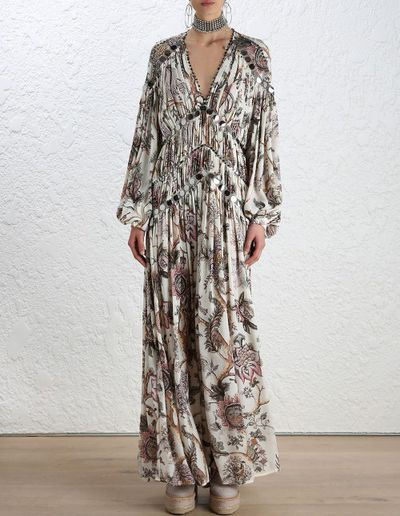 "<a href=""https://www.zimmermannwear.com/readytowear/clothing/dresses/karmic-aura-mirror-dress-indienne-floral.html"" target=""_blank"">Zimmermann</a>&nbsp;Karmic Aura mirror dress, $2500"